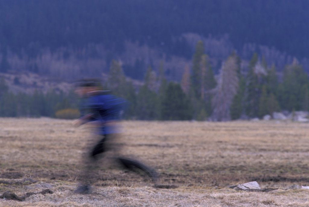 Stock Photo: 1778-11527 A man running in an alpine meadow