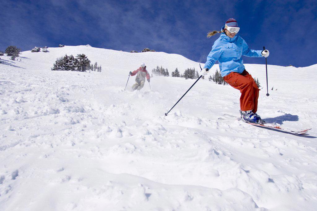 Stock Photo: 1778-12249 Couple skiing at Kirkwood, California