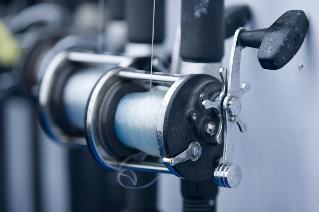 Stock Photo: 1778-12299 Fishing reels on a charter boat near the mouth of San Francisco Bay, San Francisco, California