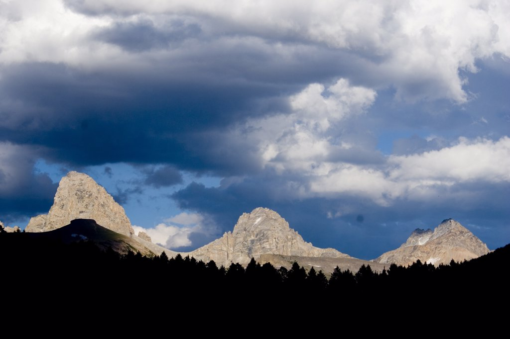 Stock Photo: 1778-12639 Teton mountains and storm clouds, Wyoming