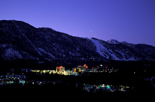 Stock Photo: 1778-13050 A view of South Lake Tahoe California-Nevada at night