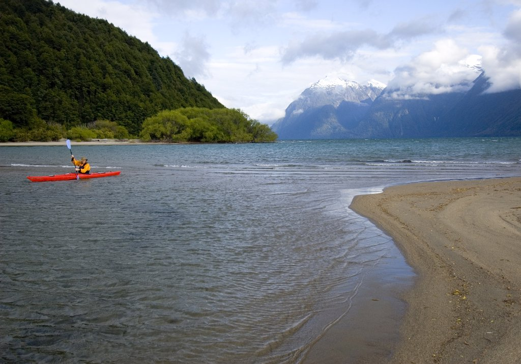 Stock Photo: 1778-14468 A person kayaks in Lago Yelcho, Chile