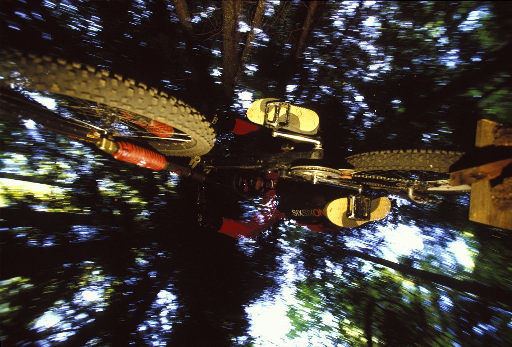Man jumping mountain bike in the forest in Rossland, British Columbia, Canada (flash effects) : Stock Photo