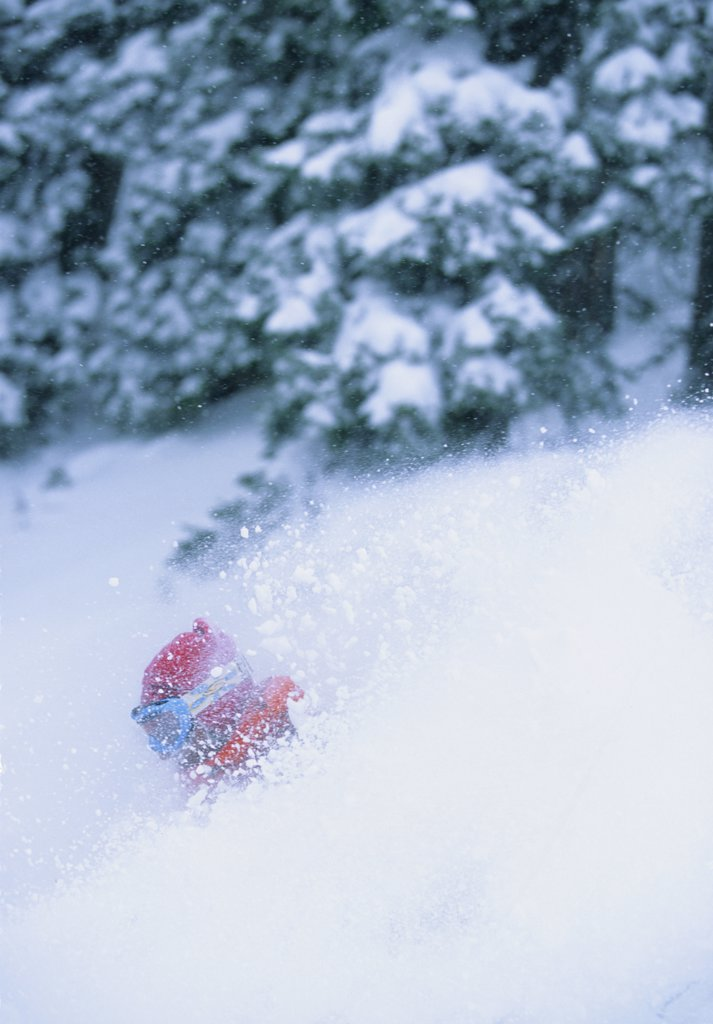 Powder skiing in St Anton, Austria : Stock Photo