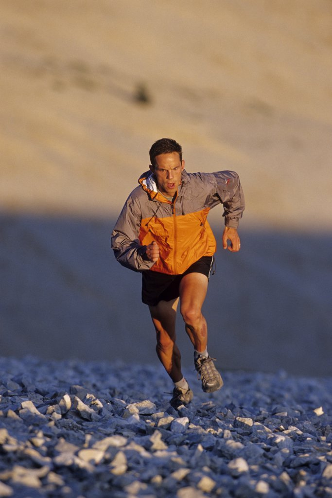 Male runner in Mont Ventoux, France : Stock Photo
