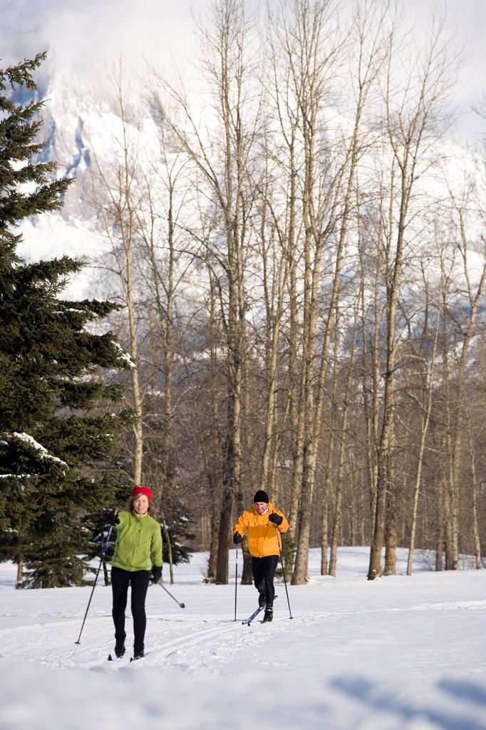 Stock Photo: 1778R-1159 Couple cross_country skiing on groomed ski trails.