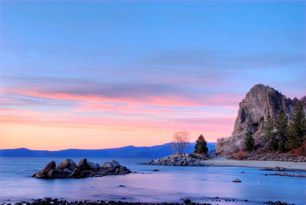 Stock Photo: 1778R-20640 Cave Rock at sunset in Lake Tahoe, Nevada.