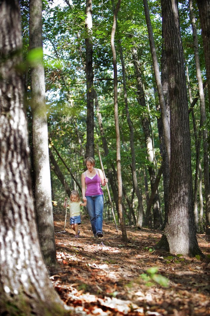 Stock Photo: 1778R-20907 A mother and her young daughter hike through trails in Chelsea, Alabama.