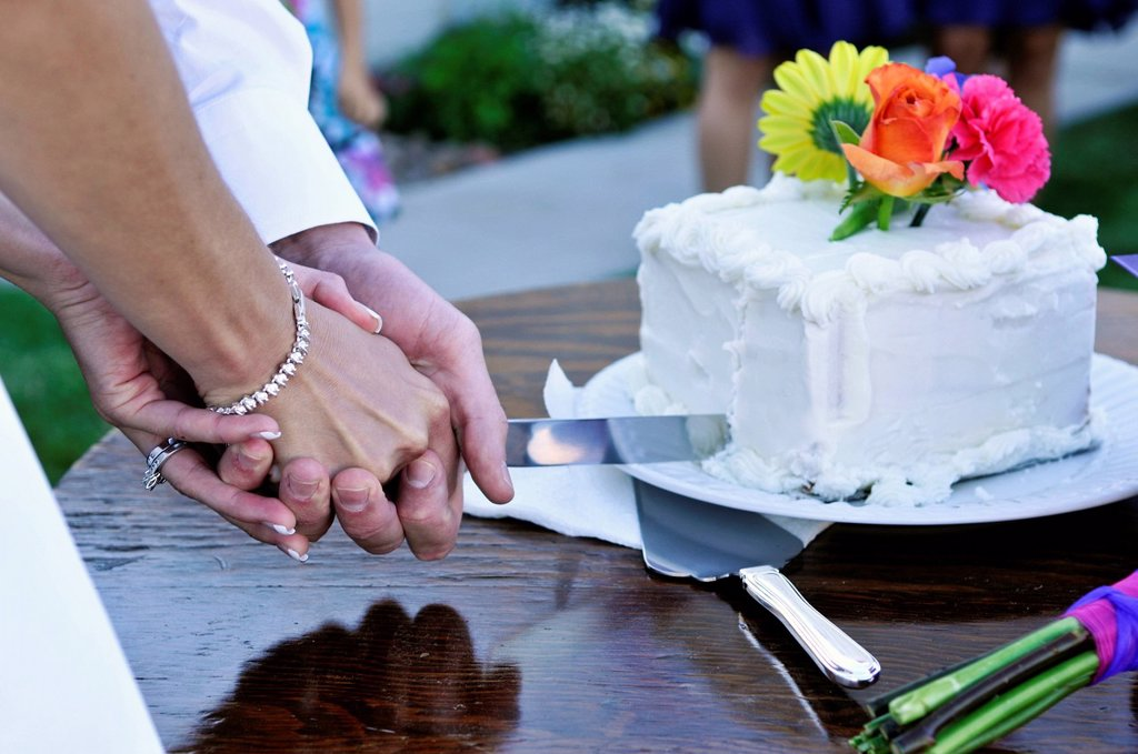 Stock Photo: 1778R-21283 A newly wed couple cuts their cake together in Dayton, Nevada.