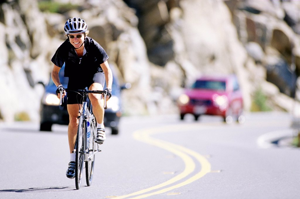 Road biking on Donner Pass. : Stock Photo