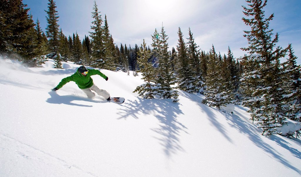 Snowboarder cuts through powdery snow. : Stock Photo
