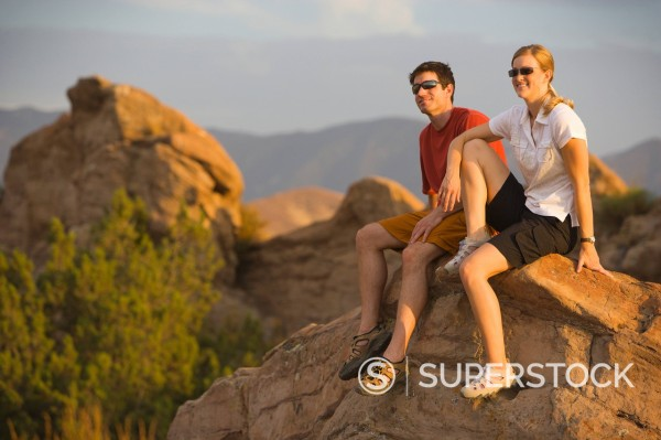 Stock Photo: 1778R-2283 Hikers rest at Vasquez Rocks.