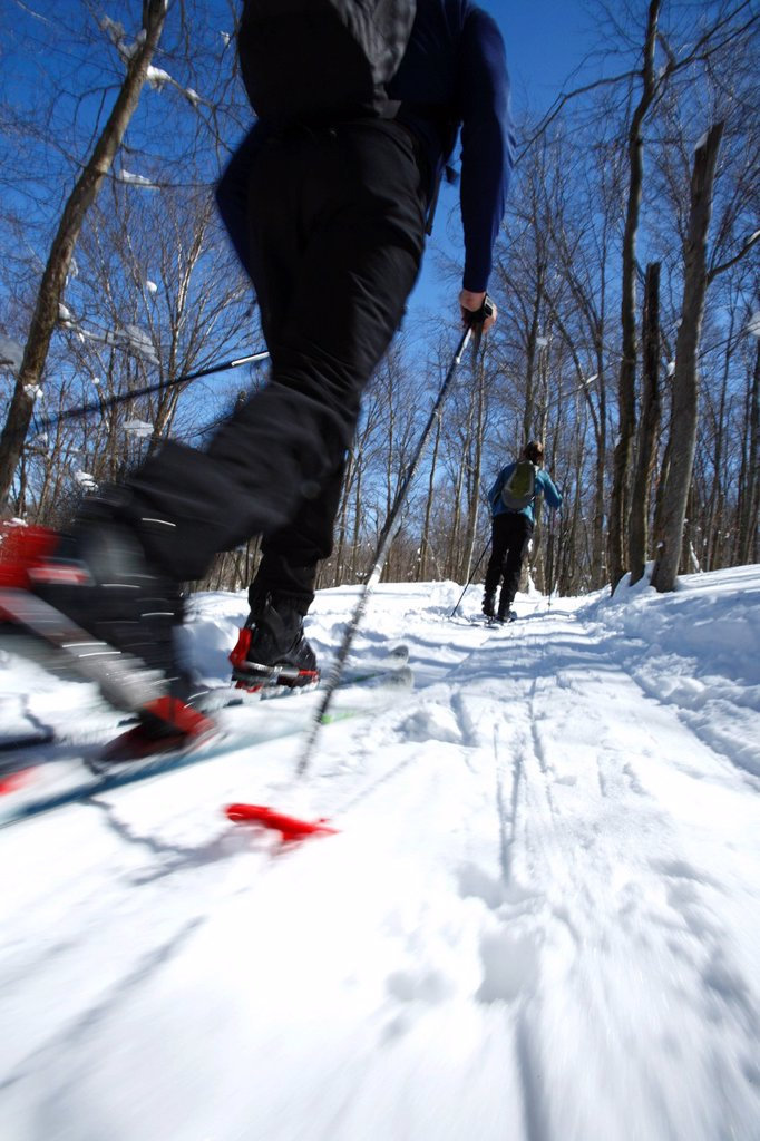 Woman enjoys backcountry skiing in West Virginia. : Stock Photo