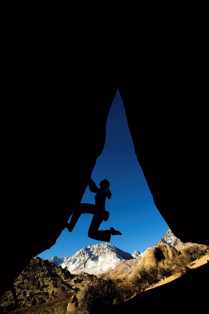 Stock Photo: 1778R-2579 Overhang climbing silhouette.