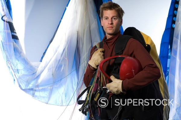 Stock Photo: 1778R-2655 Portrait of paraglider.