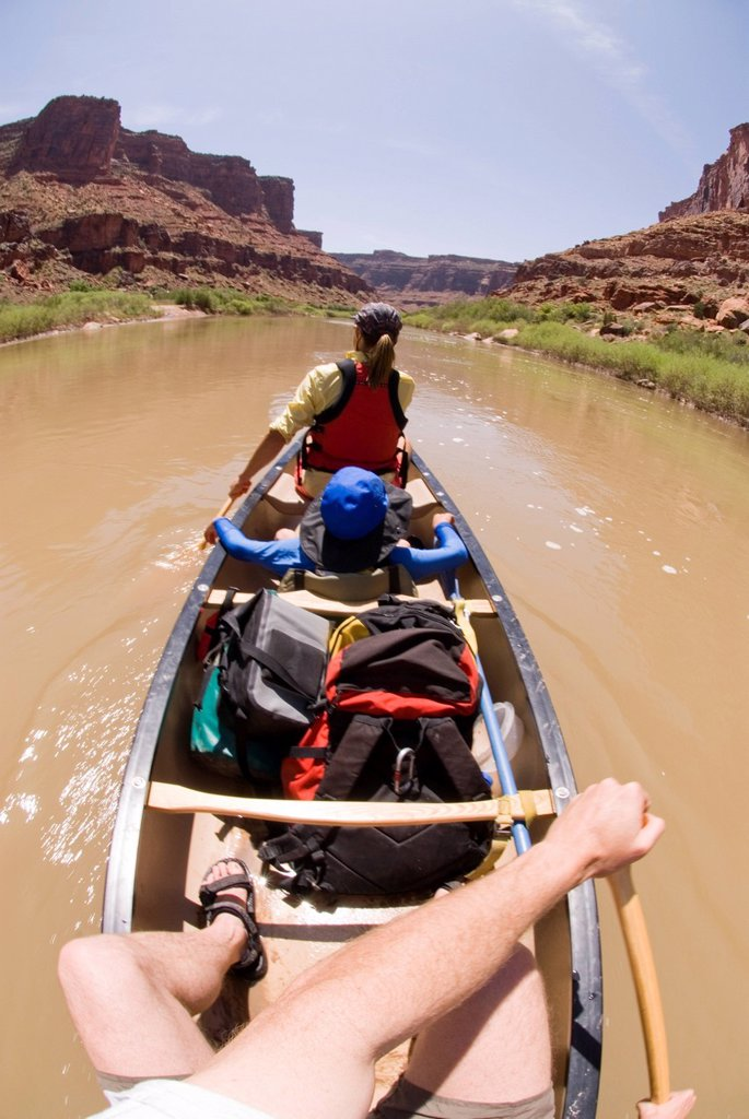 Canoeing on the Colorado River. : Stock Photo