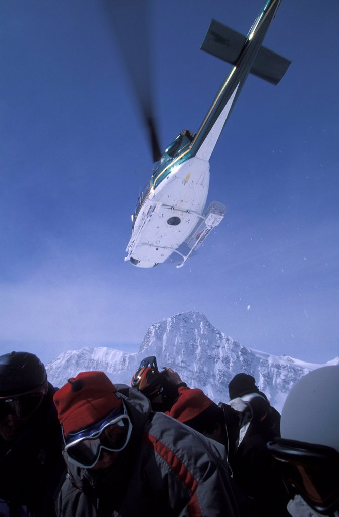 Stock Photo: 1778R-3928 Helicopter Skiing in Canada.