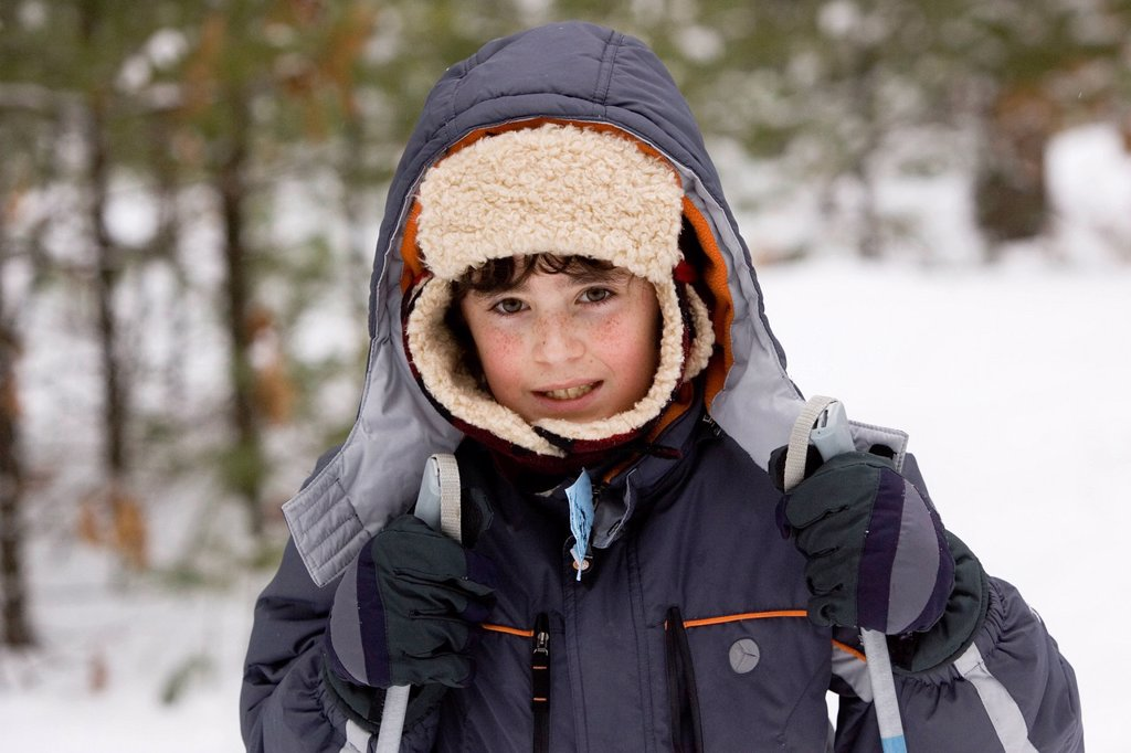 Portrait of young boy, while Cross Country Skiing in Dayton, Maine. : Stock Photo