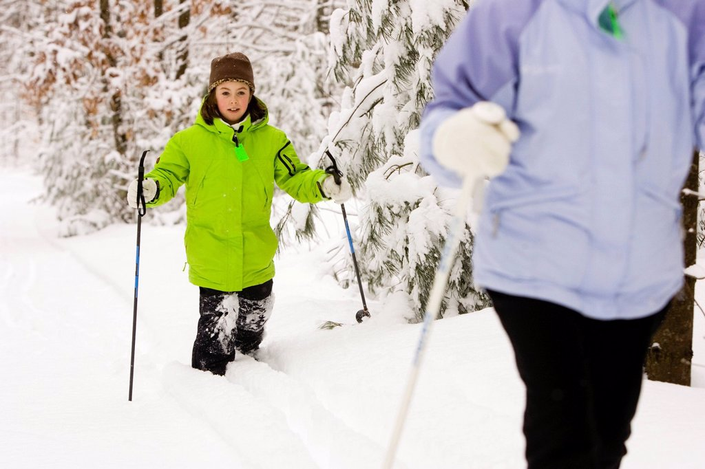 A family group Cross Country Skiing in Dayton, Maine. : Stock Photo