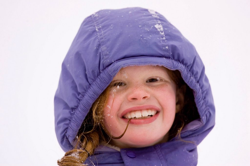 Stock Photo: 1778R-6003 Portrait of young girl Cross Country Skiing in Dayton, Maine.