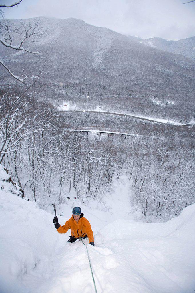 Stock Photo: 1778R-6012 Ice climbing, New Hampshire.