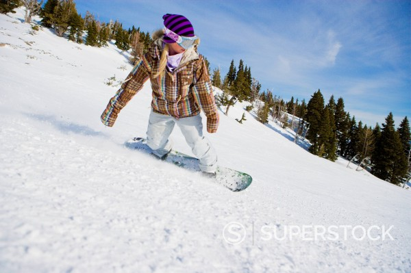 Stock Photo: 1778R-6577 A female snowboarder carving a turn on Mt. Hood, Oregon.