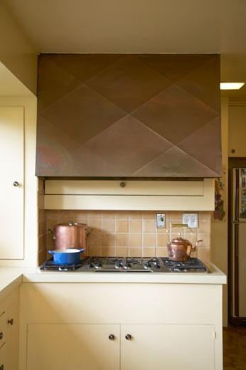 Kitchen stove with fume hood : Stock Photo