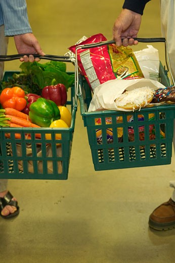 Stock Photo: 1779R-11646 People holding grocery baskets