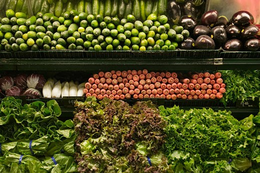 Vegetables for sale in grocery store : Stock Photo