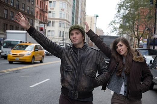 Stock Photo: 1779R-12706 Couple hailing a cab