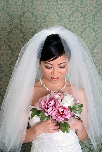 Stock Photo: 1779R-13956 Asian bride in veil and wedding dress