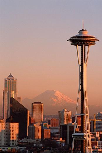 Stock Photo: 1779R-1574 Space Needle and Mt. Rainier, Seattle, Washington