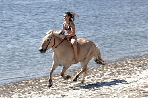 Stock Photo: 1779R-16630 Woman riding a horse on beach
