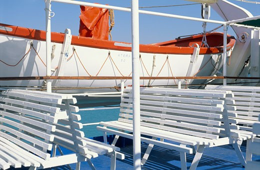 Lifeboat and benches on ferry : Stock Photo