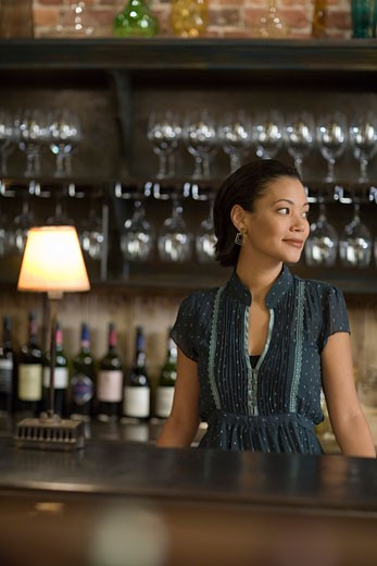 Female bartender standing at bar counter : Stock Photo