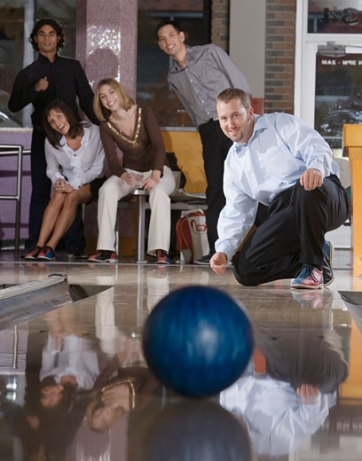 Stock Photo: 1779R-20059 Man throwing bowling ball