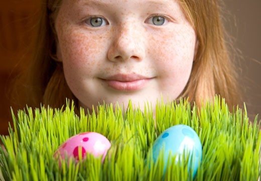 Stock Photo: 1779R-20627 Young girl with Easter eggs