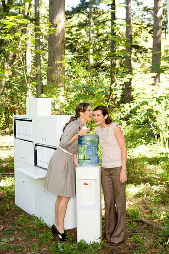 Stock Photo: 1779R-23215 Businesswomen talking at water cooler in woods