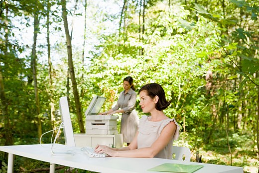 Stock Photo: 1779R-23217 Businesswoman at desk in woods