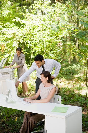 Businesspeople looking at computer in woods : Stock Photo
