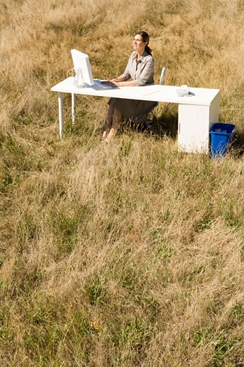Businesswoman at desk in field : Stock Photo