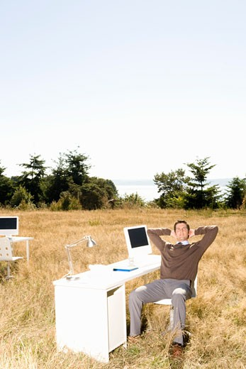 Stock Photo: 1779R-23241 Businessman at desk in field
