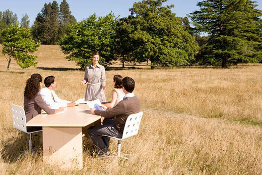 Stock Photo: 1779R-23250 Businesspeople at conference table in field