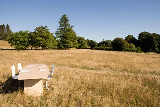 Stock Photo: 1779R-23254 Conference table in field