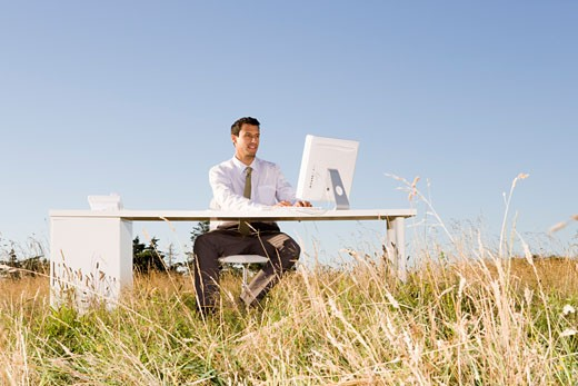 Stock Photo: 1779R-23282 Businessman at desk in field
