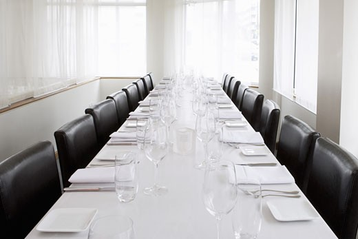 Large table at restaurant : Stock Photo
