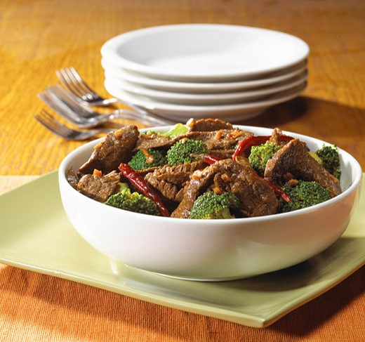Stock Photo: 1779R-25345 Close up of bowl of beef and broccoli