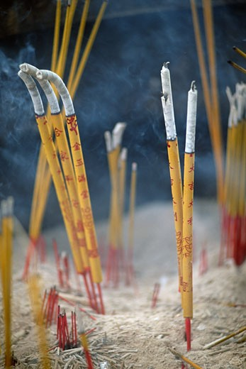 Burning incense sticks : Stock Photo