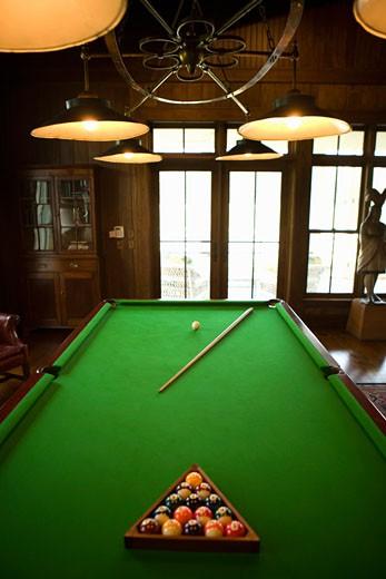 Billiard balls racked on table : Stock Photo