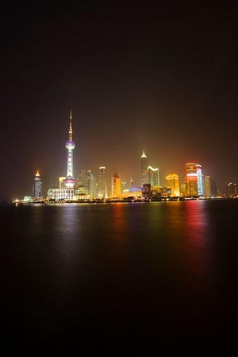 View of Shanghai city skyline at night, China : Stock Photo